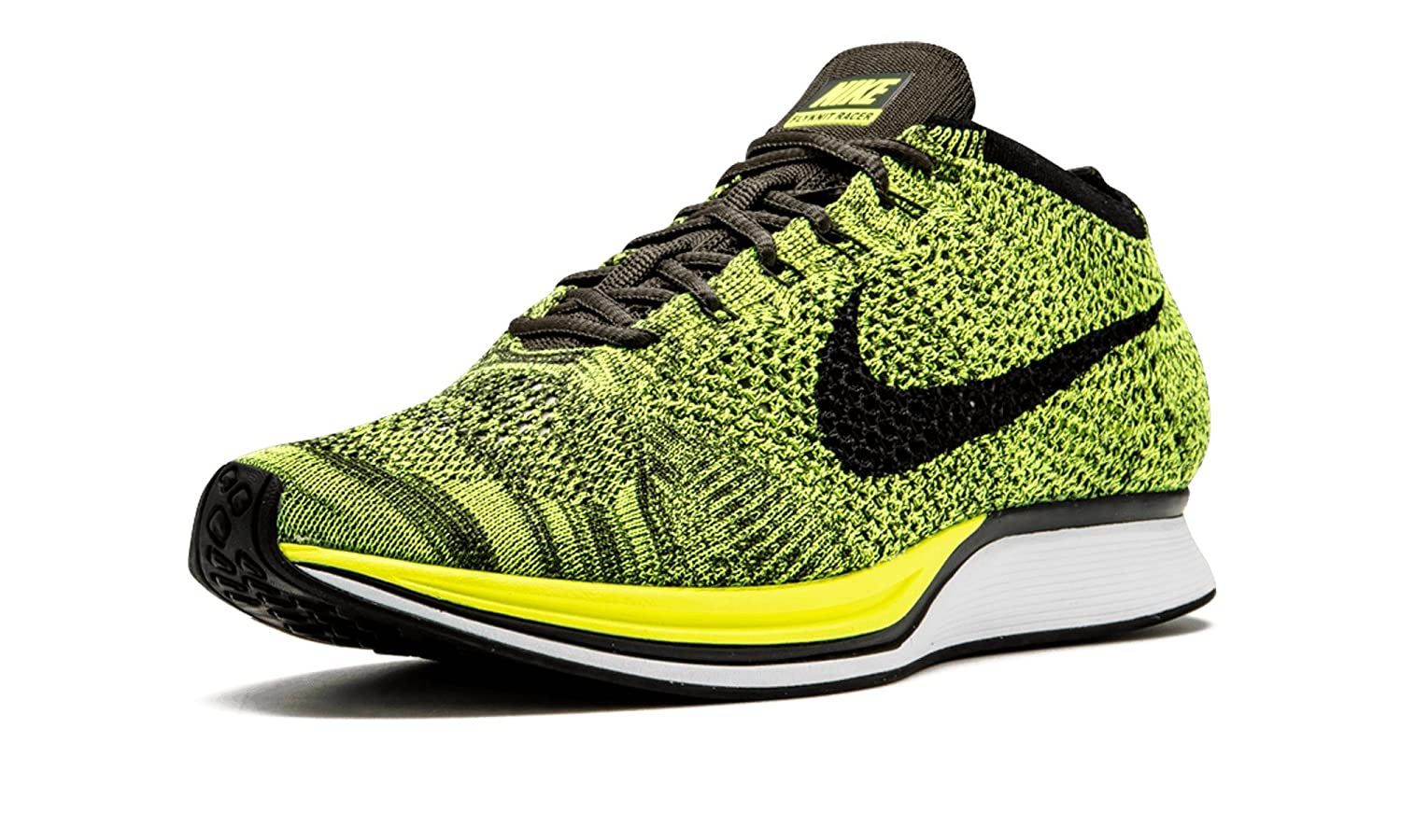 the best attitude 8c37e 56fcb Nike Flyknit Racer - Running Shoes, Man, Color Green (Volt Black-Sequoia),  Size 39  Amazon.co.uk  Shoes   Bags
