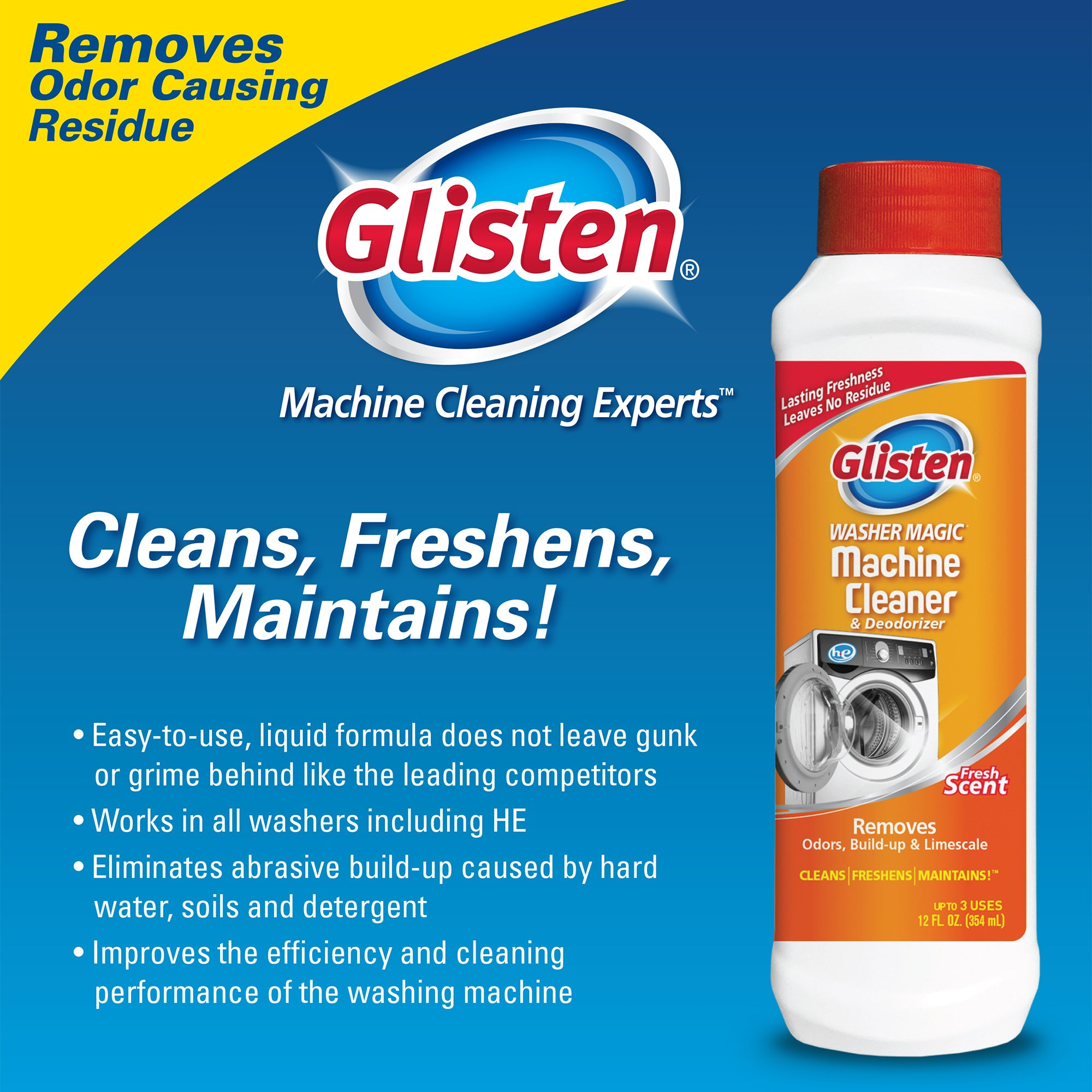 Glisten Washer Magic Washing Machine Cleaner & Deodorizer, 12 Fl. Oz. Bottle, 12 Pack by Glisten (Image #7)