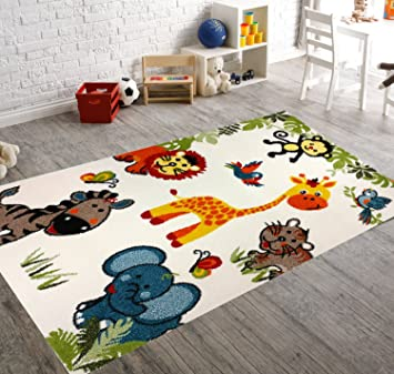 "KC Cubs Boy and Girl Bedroom Modern Decor Area Rug and Carpet Collection For Kids and Children Happy Animal Nursery Friends (3' 11"" x 5' 3"")"