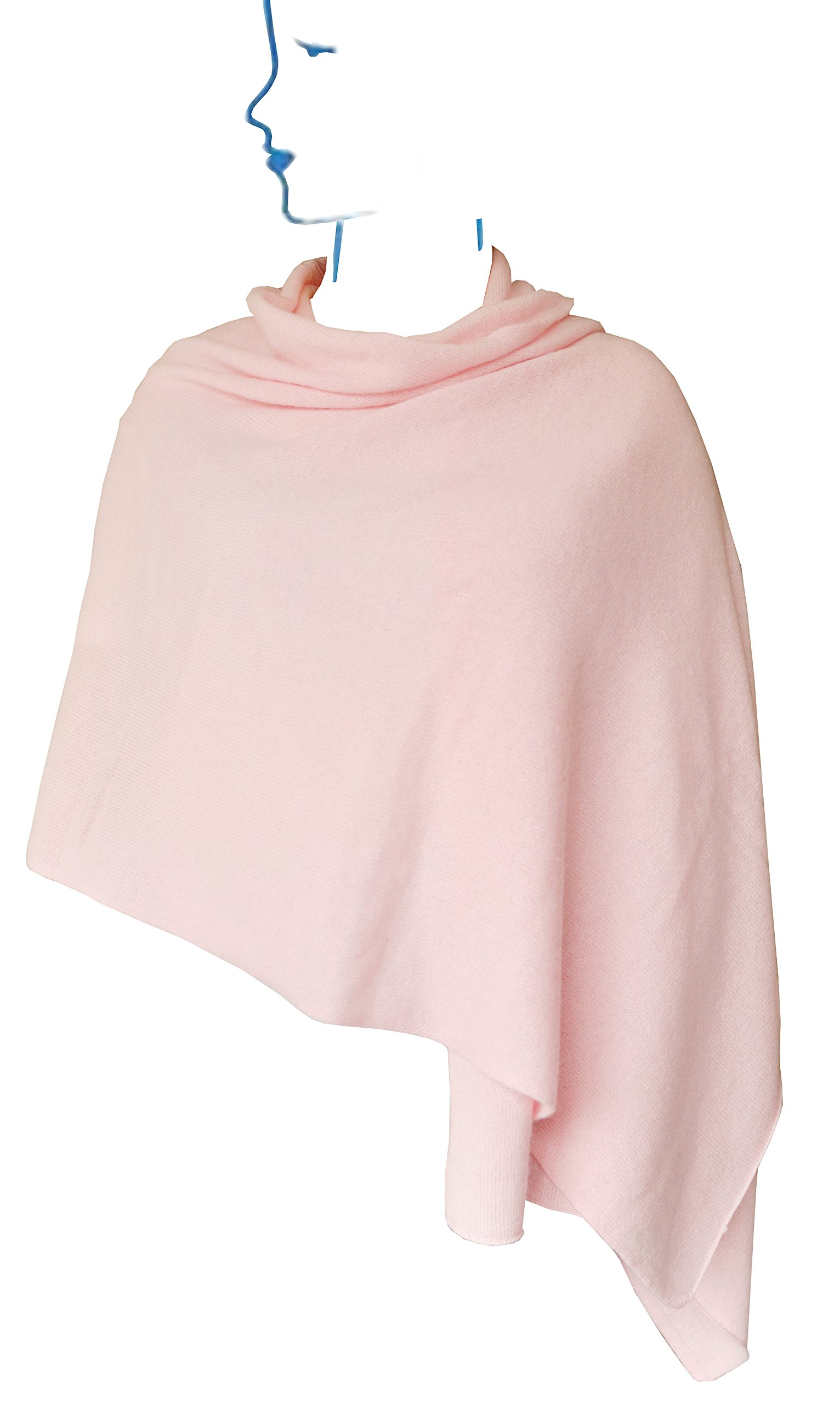 Ellettee, Pink 100% Cashmere Knitted Scarf Classic Premium Shawl Luxurious Elegant Solid Color Wrap Art Oversized Shawl, Oblong