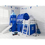 Mid Sleeper Bunk Bed WHITE Pine Cabin bed with Slide + BLUE Design + Tunnel 6970WG-BLUE