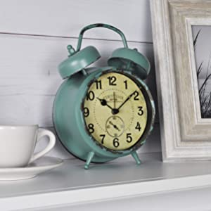 """FirsTime & Co. Teal Double Bell Alarm Tabletop Clock, 5"""" x 7"""", Aged"""