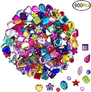 900 Pcs Gems Acrylic Flatback Rhinestones Gemstone Embellishments with Tweezers and Bag 6-13mm 9 Shapes