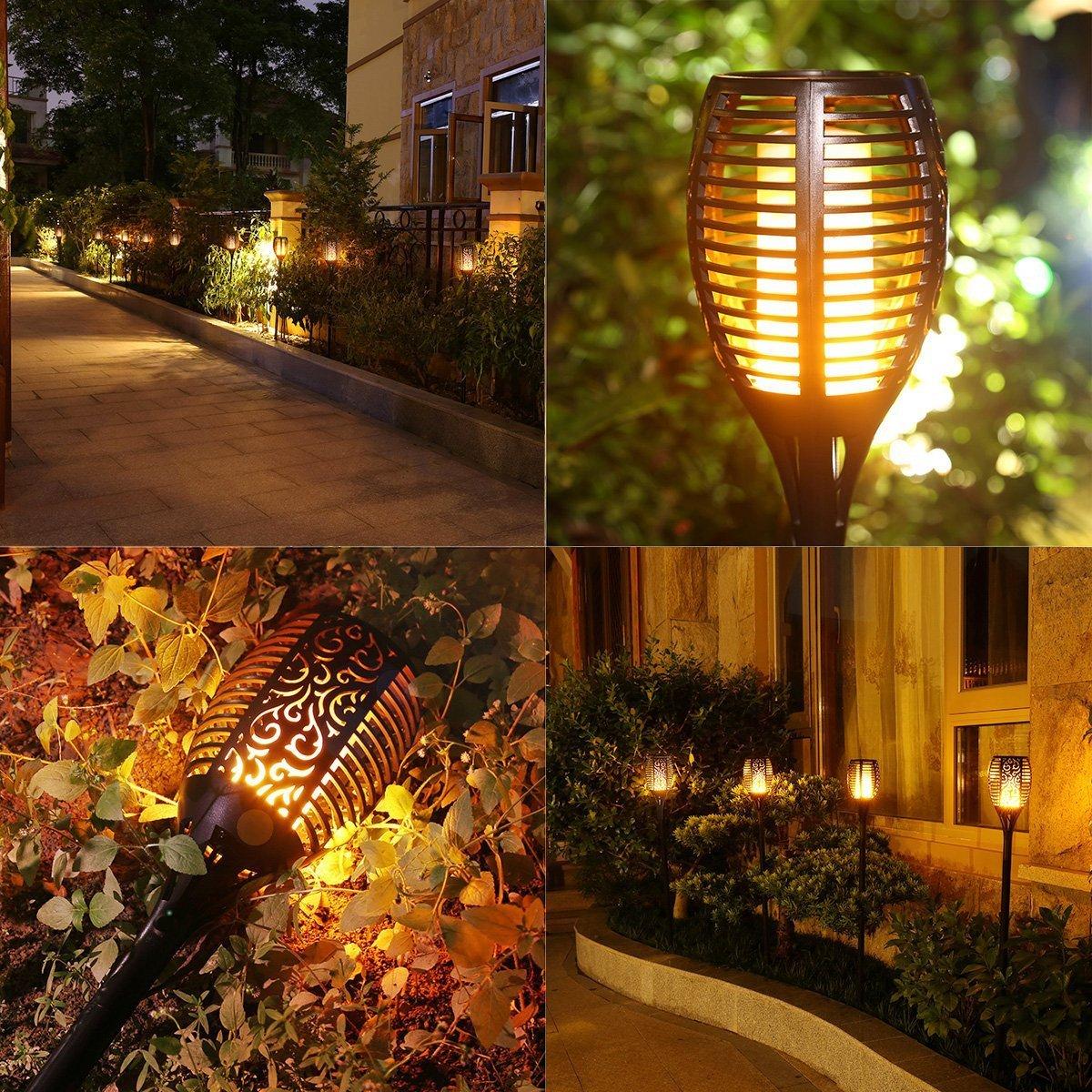 Nusun lite Solar Lights Dancing Flames Lights Solar Torch Lights Waterproof Wireless Flickering Torches Lantern Outdoor for Garden Patio Yard Driveway Pathway Pool (2 Pack) by Nusun lite (Image #4)