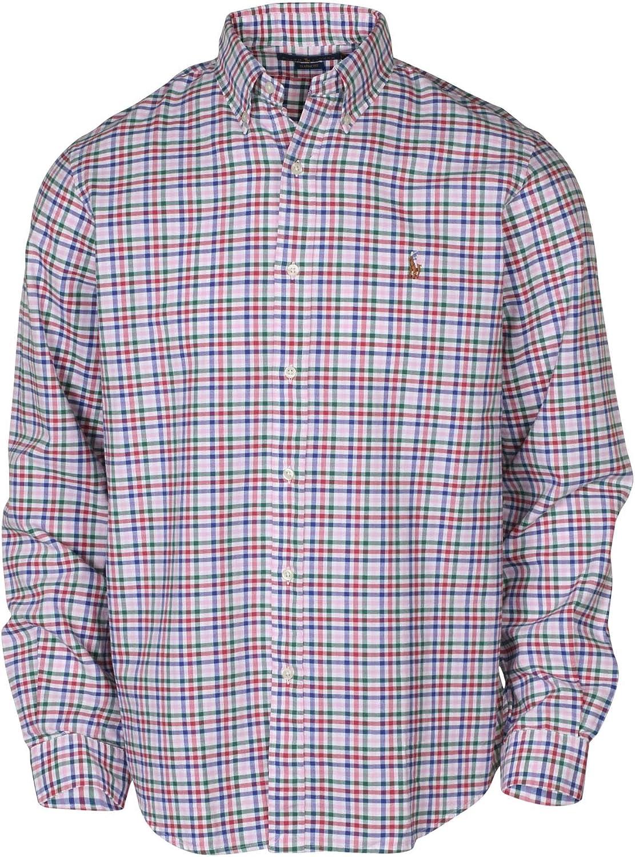 Amazon.com: RL Men's Classic Fit Plaid Oxford Button Down Shirt ...