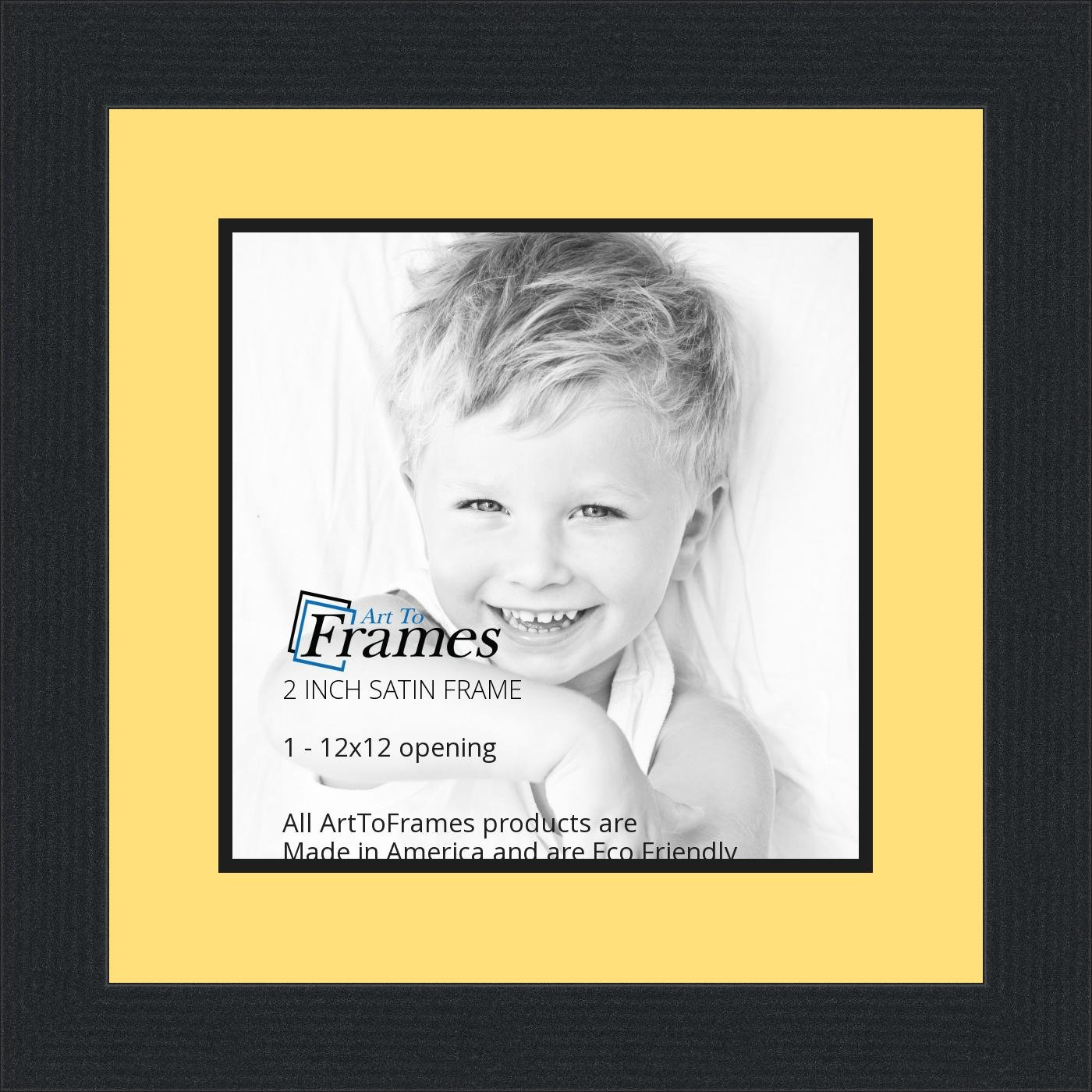 Amazoncom 12x12 12 X 12 Picture Frame Satin Black 2 Wide With