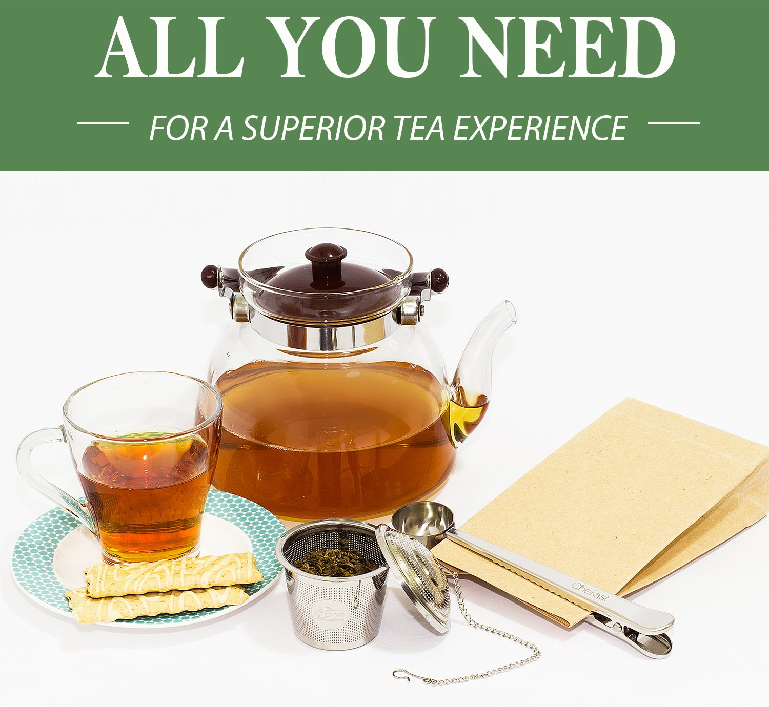 Tea Infuser Set by Chefast (2+1 Pack) - Combo Kit of 1 Large and 2 Single Cup Loose Leaf Infusers, Plus Metal Scoop with Clip - Reusable Stainless Steel Strainers | Diffusers | Balls | Steepers by Chefast (Image #6)