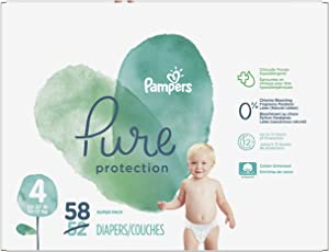 Diapers Size 4, 58 Count - Pampers Pure Protection Disposable Baby Diapers, Hypoallergenic and Unscented Protection, Super Pack