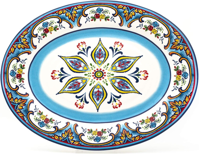 Multicolor Blue 18-Inch EuroCeramica YS-ZB-1014 Zanzibar Oval Platter Fall Decor Spanish Floral Design Lightweight Durable Servingware