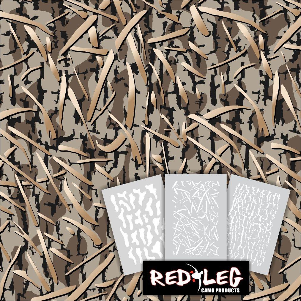 Redleg Camo 3 Piece Duck Grass Camo Stencil Kit (Duck Grass 3 Piece) by Redleg Camo