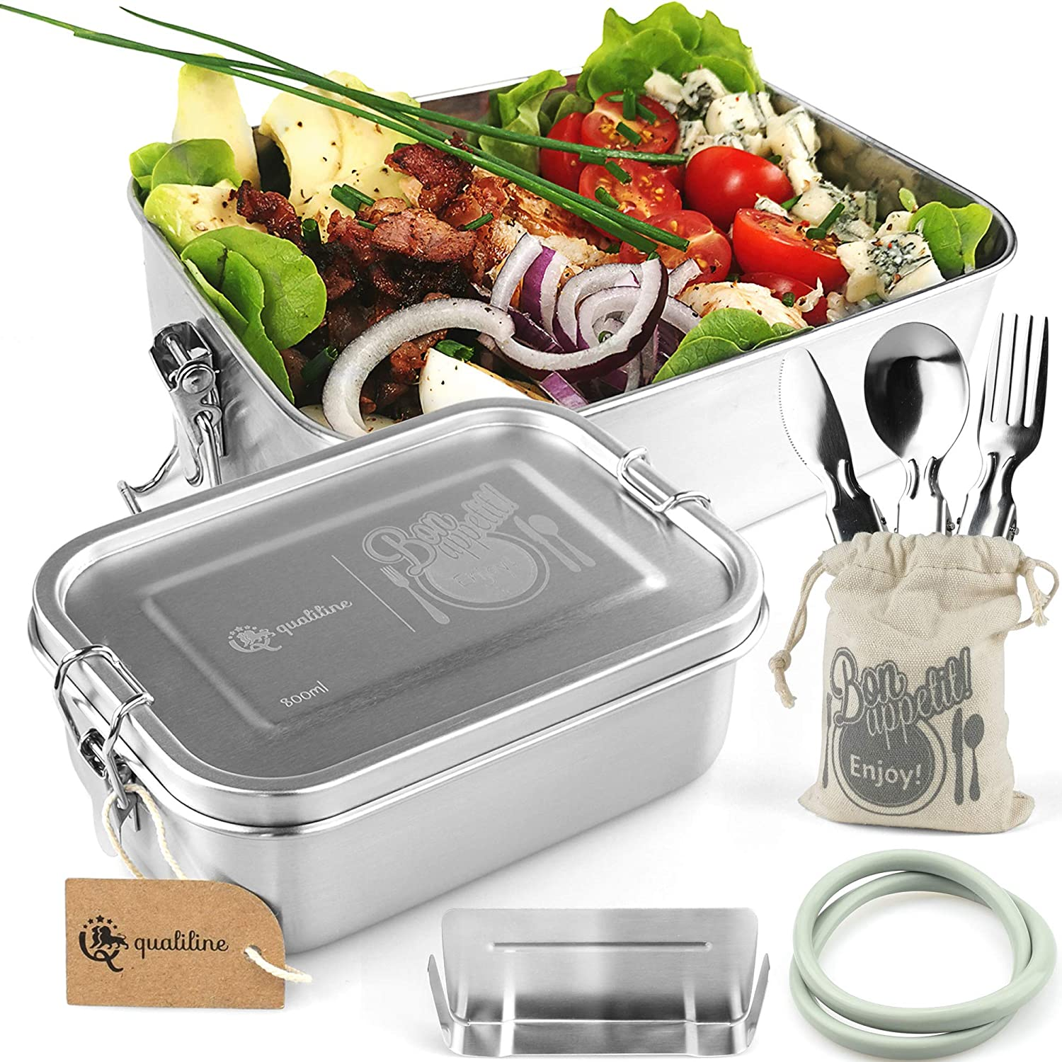 QualiLine - Stainless Steel Bento Box Adult Lunch Box 27/40oz Bento Boxes for Kids Lunches Salad Container for Lunch Adjustable Divider Perfect Bento Lunch Box Bento Box for Kids Or Adult Bento Box