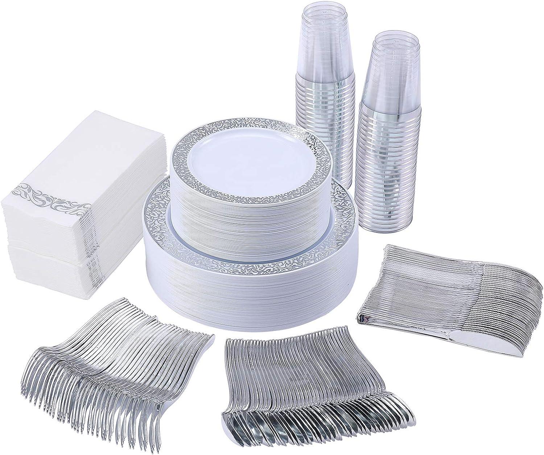 350 Piece Silver Dinnerware Set 50 Guest-100 Silver Lace Plastic Plates-50 Silver Plastic Silverware-50 Silver Plastic Cups-50 Linen Like Silver Paper Napkins,FOCUS LINE Disposable Dinnerware Set