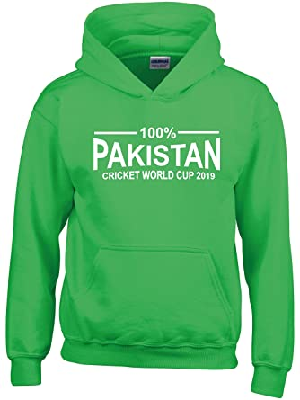 100/% Pakistan Cricket World Cup 2019 Hoodie Kids Green