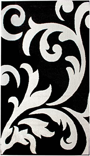 Super Area Rugs Metro Stain-Resistant White Damask Rug, 5 x 8 , Black