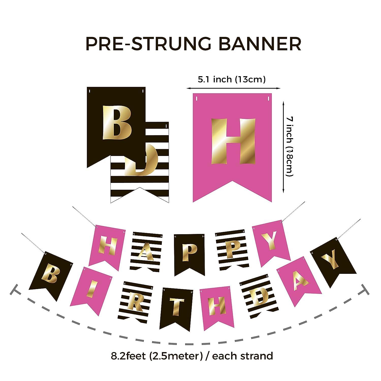 Amazon.com: Premium Happy Birthday Banner Bunting Garland   Gold ...