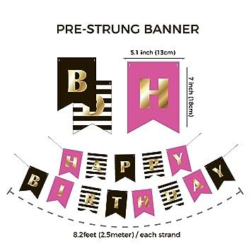 amazon com premium happy birthday banner bunting garland gold