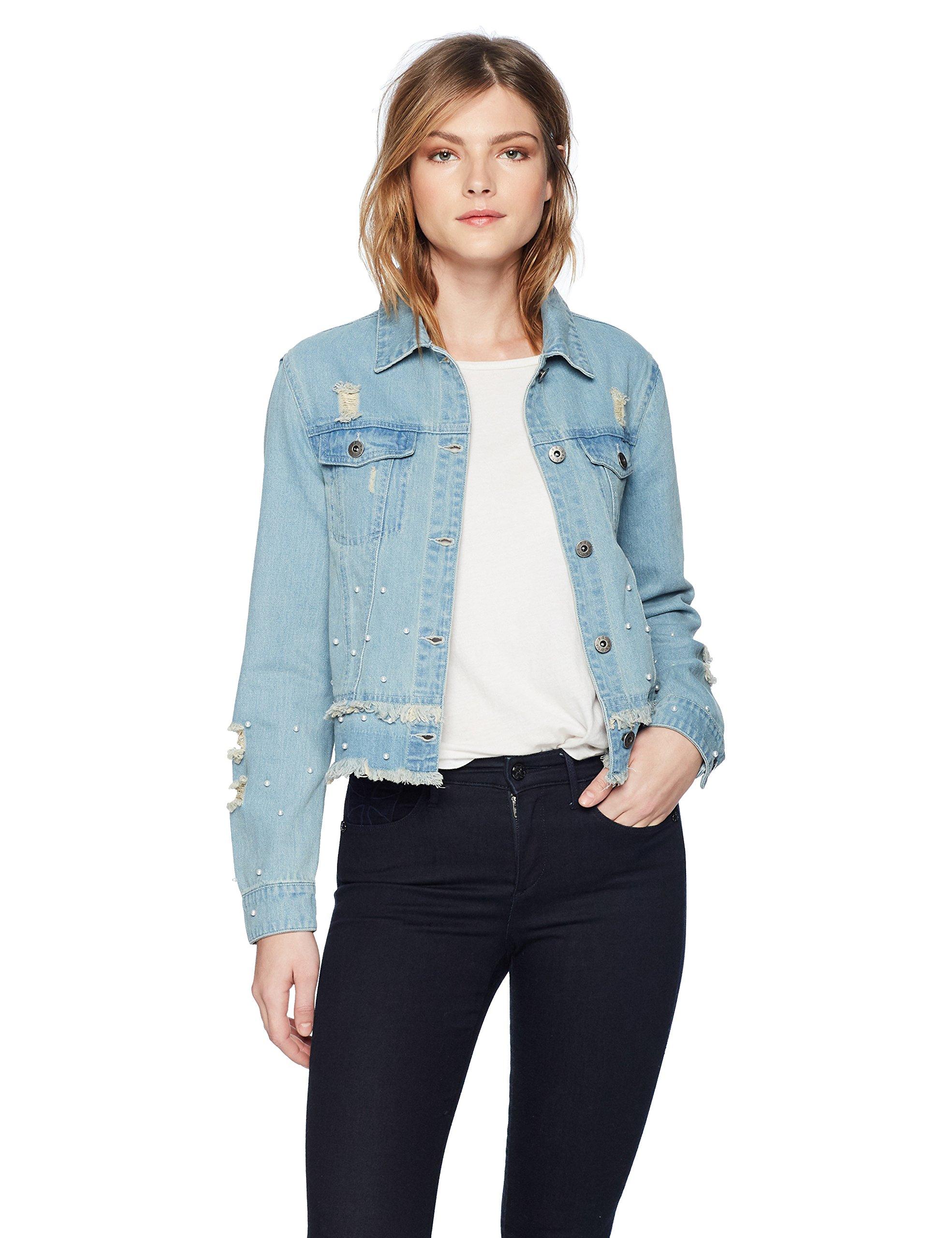 BB Dakota Women's Eisley Pearl Detailed Denim Jacket, Light Blue, Medium