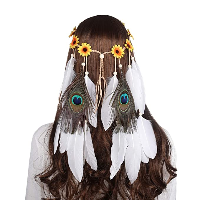 Boho-pelo banda india resorte cinta del pelo con plumas festival hippies cabeza joyas
