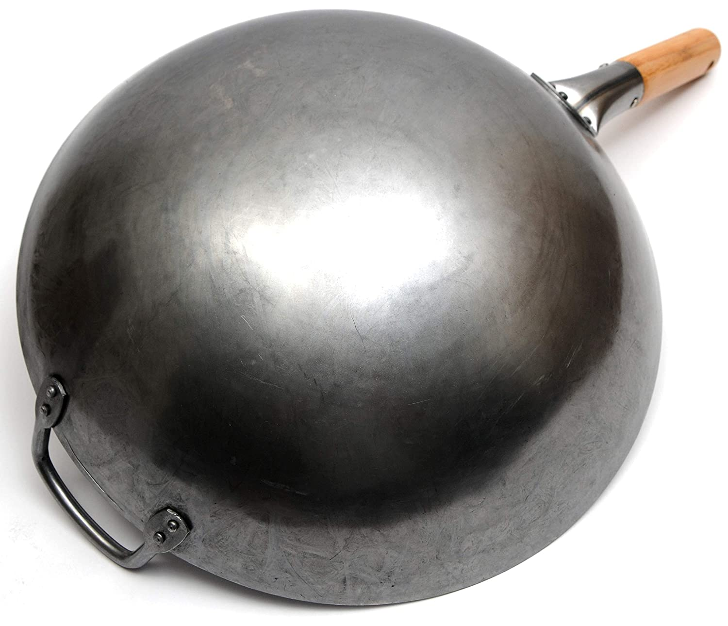 Round Bottom by Chef/'s Medal Wok101 14 Inch Traditional Hand Hammered Carbon Steel Pow Wok with Bamboo Handle and Steel Helper Handle
