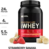 Optimum Nutrition Gold Standard 100% Whey Protein Powder, Strawberry Banana, 909 Grams
