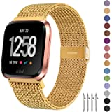 Fitlink Metal Bands Compatible for Fitbit Versa/Versa Lite Edition/Versa 2 Smart Watch for Women and Men,Small and Large, Multi-Color