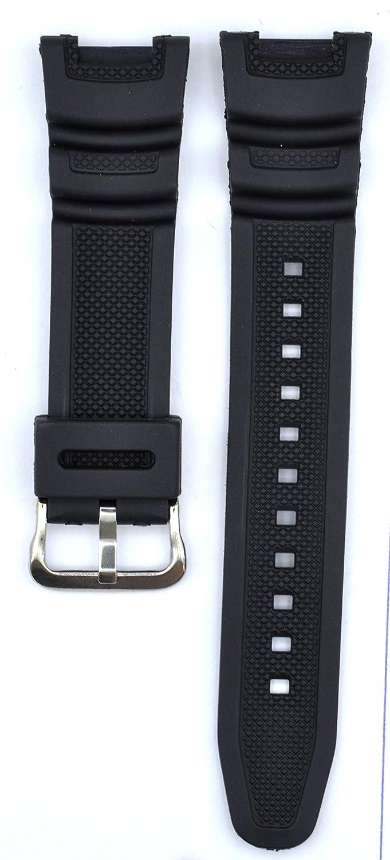 24 mmブラックゴム時計ストラップfor sgw-100 Watches cas112  B0792VH4Y7
