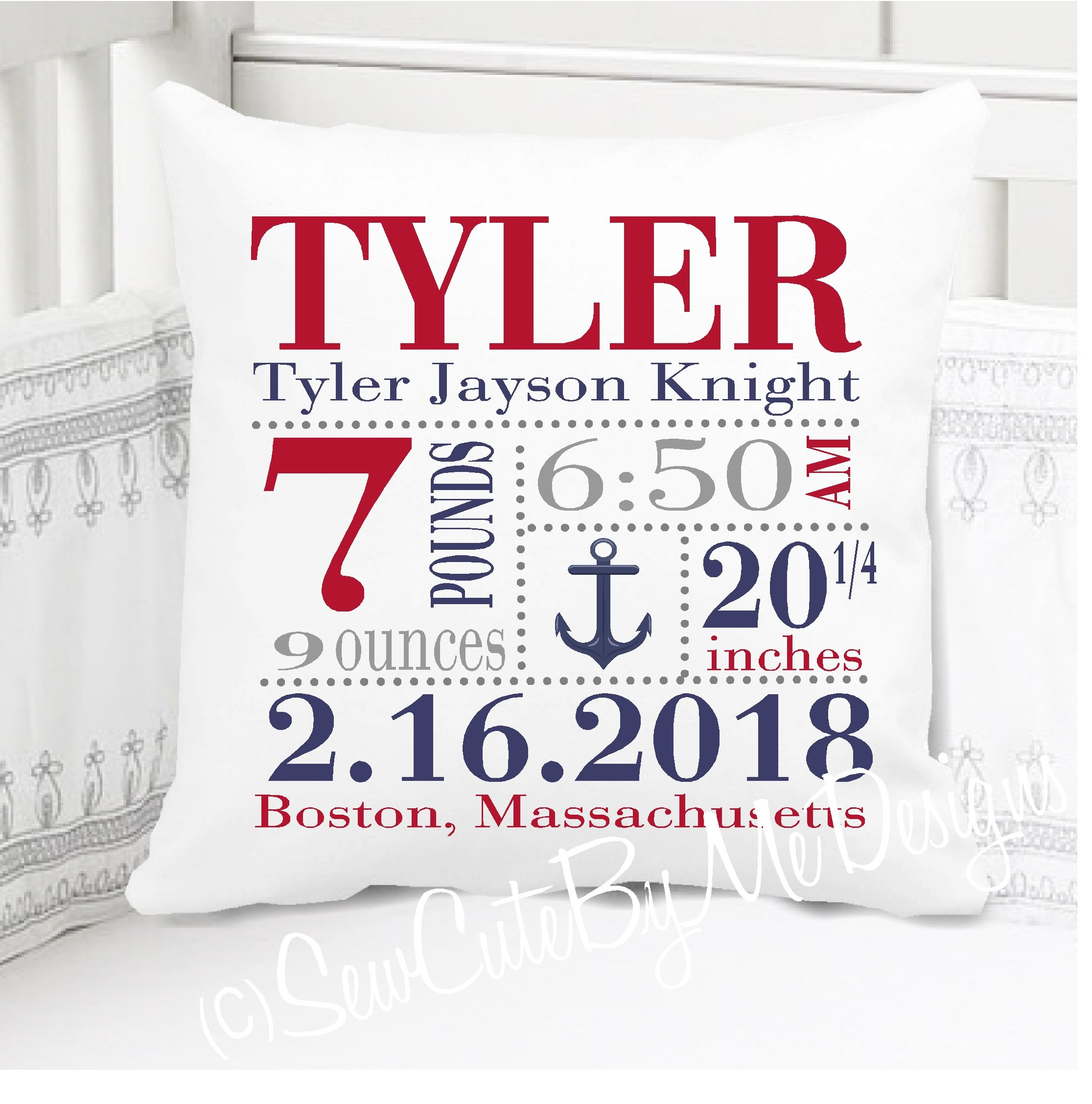 Sew Cute by Me Designs Original Birth Announcement Pillow for Baby Boys Nursery - Nautical Anchor - Includes Personalized Pillowcase and Pillow Insert 14x14 or 16x16