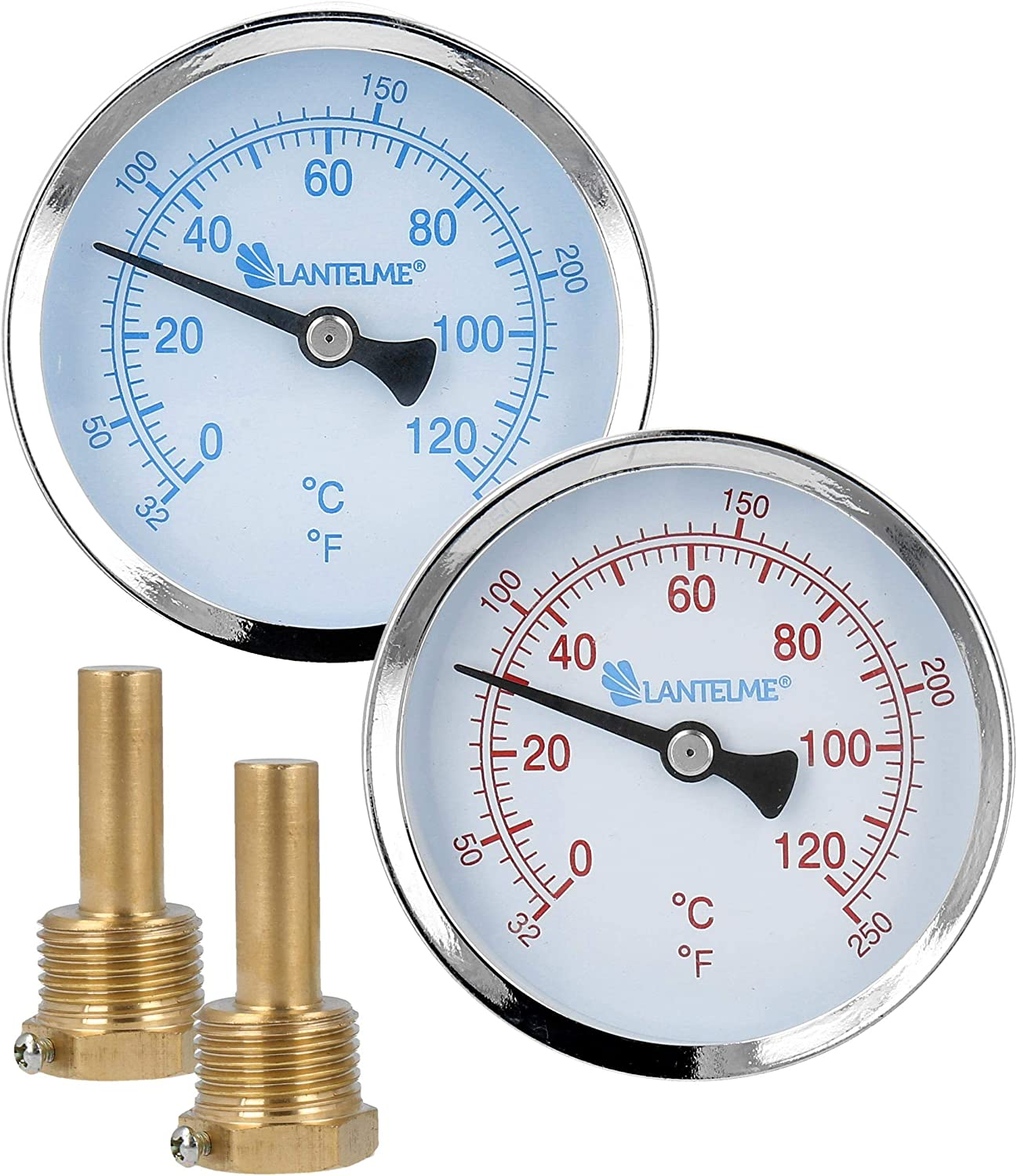 Lantelme 2 St/ück Thermometer Heizung Set 120 /°C Tauchh/ülse Zeigerthermometer blau rot analog Heizungsthermometer 7823