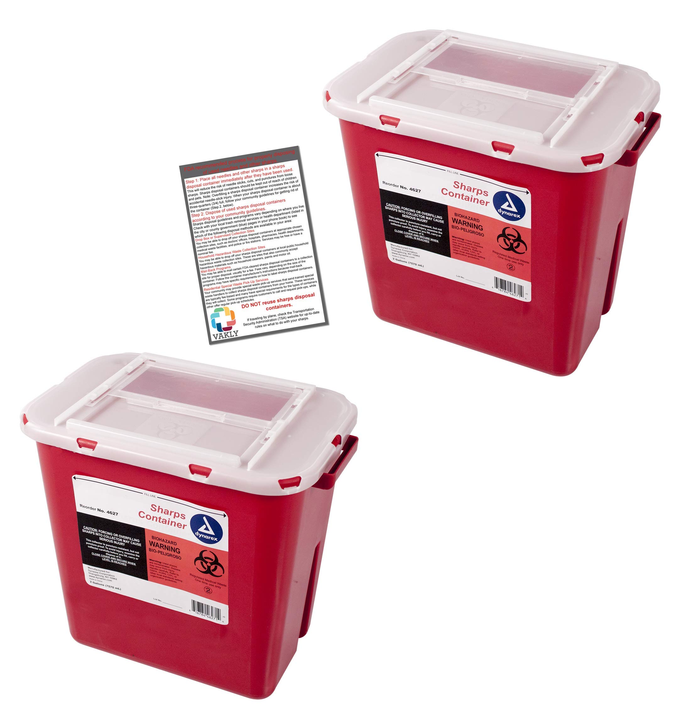Sharps Container 2 Gallon - Plus Vakly Biohazard Disposal Guide (2 Pack) by Vakly