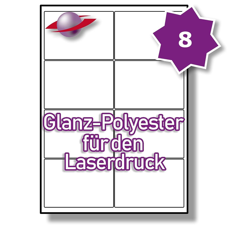 10 Bl/ätter LP8//99 GTP. 80 Etiketten Label Planet/® A4 Gl/änzend Transparente Polyester Etiketten F/ür Laserdrucker 99.1 x 67.7mm 8 Pro Blatt