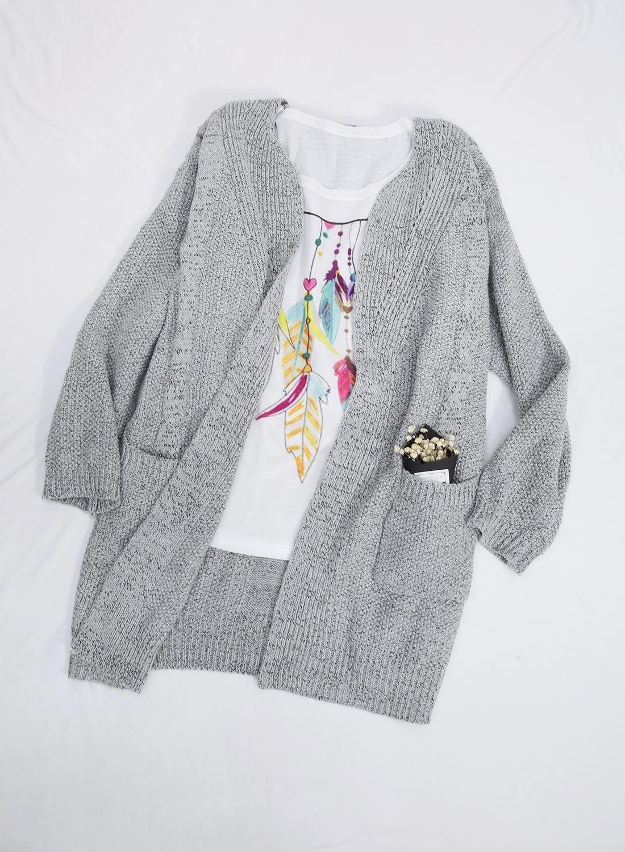 Futurino Women's Cable Twist School Wear Boyfriend Pocket Open Front Cardigan (One Size, Grey) by Futurino (Image #3)
