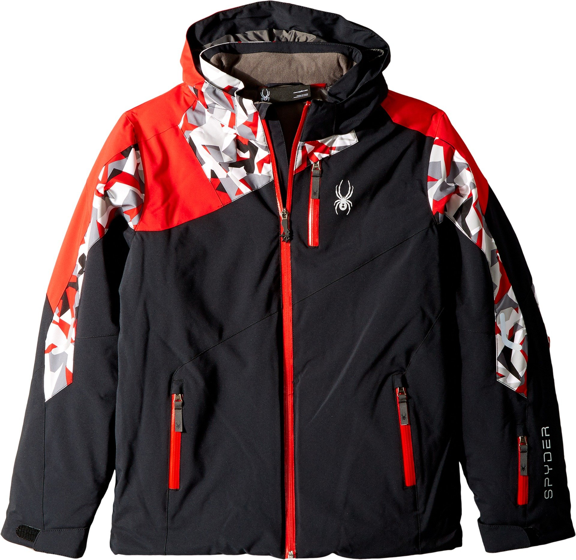 Spyder Kids  Boy's Avenger Jacket (Big Kids) Black/Mini Camo White/Red 12 by Spyder