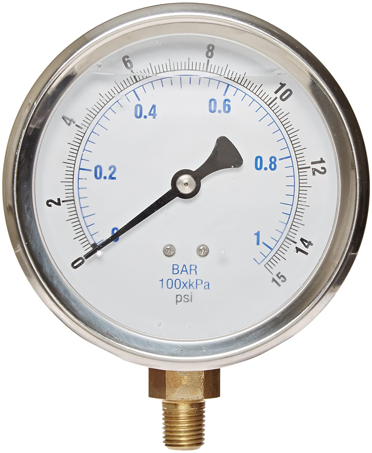 PIC Gauge 201L 404B 4 Dial 0 15 psi Range 1 4 Male NPT Connection Size Bottom Mount Glycerine Filled Pressure Gauge with a Stainless Steel Case Brass Internals Stainless Steel Bezel and Polycarbonate Lens
