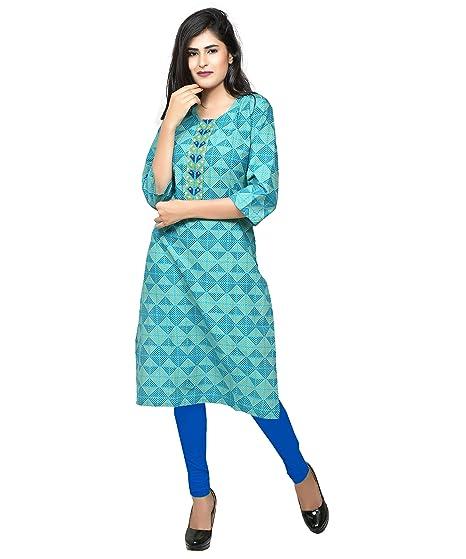 63b2cd0eaaab5 Rivaj Women's Cotton Long 3/4 Sleeve, Partywear Design Kurti, Size  LMS-XS-XL-XXL