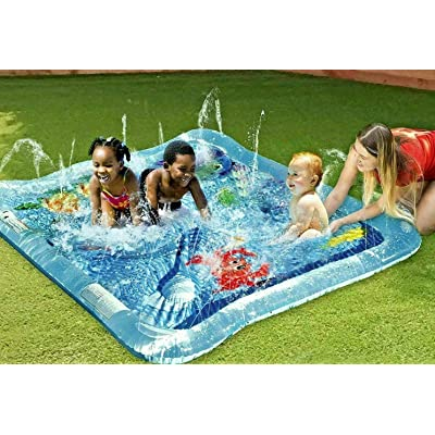 Kids Squirt Pool For Babies And Toddlers Outdoor Baby Splash Play Mat Connects To Sprinkler Inflatable Pool Water Toy: Toys & Games