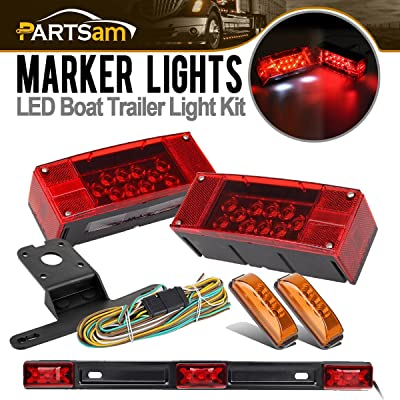 "Partsam Submersible Truck Trailer LED Light Kits,Pairs Rectangular Stop Turn Tail Lights w/Wire &bracket+14.17"" Red 3 Light 9 LED Stainless Steel ID Light Bar+2x3.9"" Amber 3 LED Side Marker Lamps"
