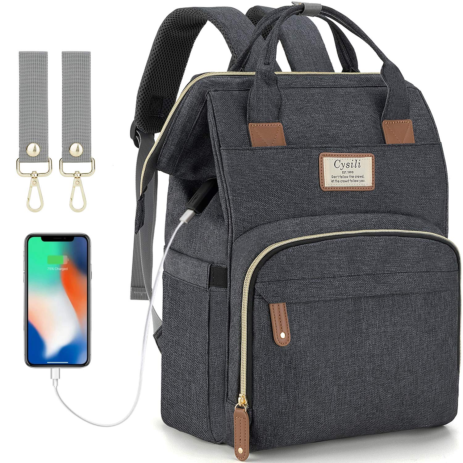 Black and Grey Multi Pockets Diaper Bag with USB Port and Heat Retainer for Baby Bottles with USB Cable SMILEYBOO Baby Changing Bag Backpack Waterproof Unisex Baby Bag