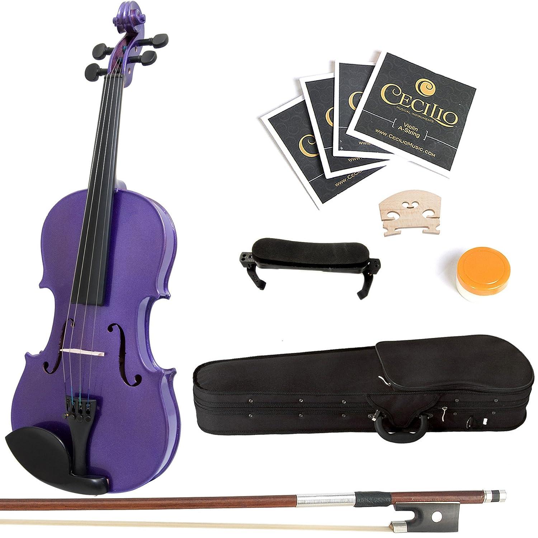 Amazon.com: Mendini 4/4 MV-Purple Solid Wood Violin with Hard Case ...