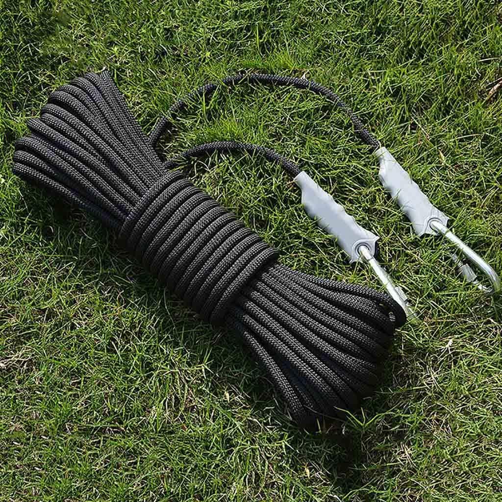Noir équipement d'escalade Corde auxiliaire de sécurité extérieure anti-dérapante de 9,5 mm de diamètre, corde de survie en corde de renforcement 1200kg, corde auxiliaire de sauvetage en polypropylène oran
