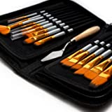 Artist Paint Brush Set – 15 Different Brush Shapes & Sizes – Bonus FREE Painting Knife & Watercolor Sponge – No Shed Bristles – Wood Handles – For Body Paint, Acrylics & Oil