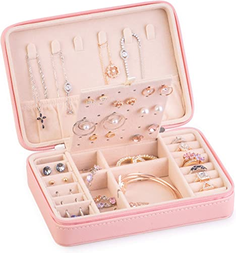 Solar Design Jewelry Organizer Case Double Layer Travel Jewelry Storage Bag Box For Necklace Holder Earrings Rings Bracelets Watch Pink Amazon Ca Jewelry