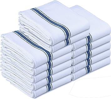 Kitchen Towels Dish Cloth (12 Pack) Machine Washable Cotton White Kitchen  Dishcloths Towel Tea