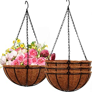 ARTFAMY Hanging Planters Basket Outdoor Indoor(10 inch 4 Pack)- Coconut Coir Hanging Baskets for Plants Outdoor,Metal Wire Baskets with Coco Liner Window Box Planters, hanging Flower Pots For Railings