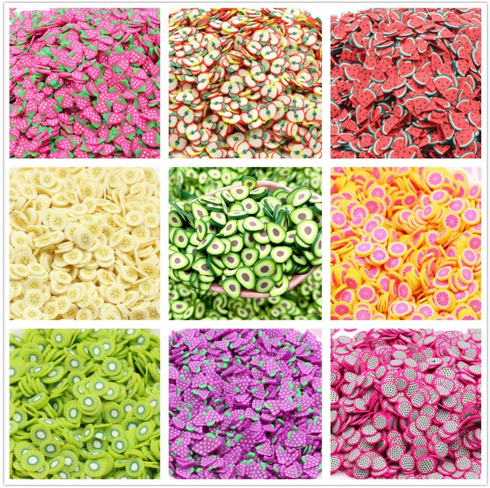 3D Fruit Polymer Slices Nail Art Decorations Supplies Slime Slices 10 Packs of Colorful Fake Candy Sweets Sugar Sprinkles Cake Dessert Simulation Food