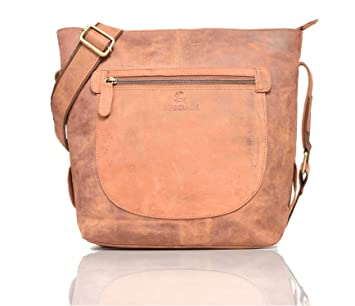 f95d8456a26e LEADERACHI Hunter Crossbody Messenger Leather Bag for Women (Brown)   Amazon.in  Bags