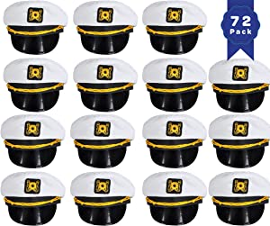 Bottles N Bags White Nautical Captain Sailing Hats (72 Pack)