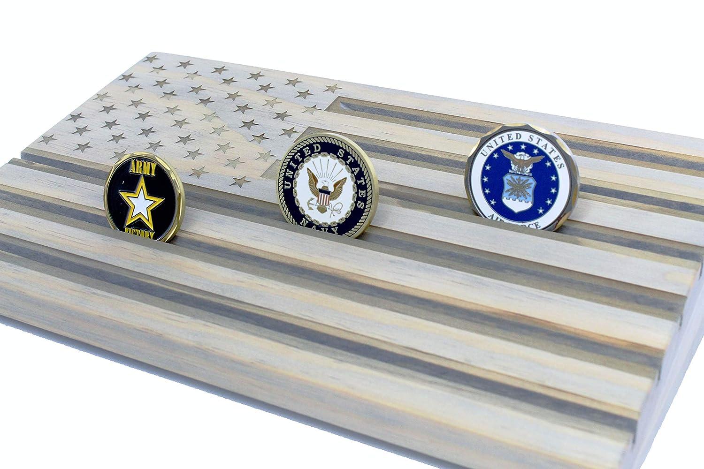 LOKI ENGRAVING Gray American Flag Challenge Coin Display - Wood