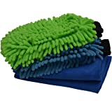 Sobby Microfiber Cleaning Cloths 4 In 1 Combo For Car Care ( 2 Large Microfibre Cloths, 2 Big Size Microfiber Mitt Glove - Assorted Colors)