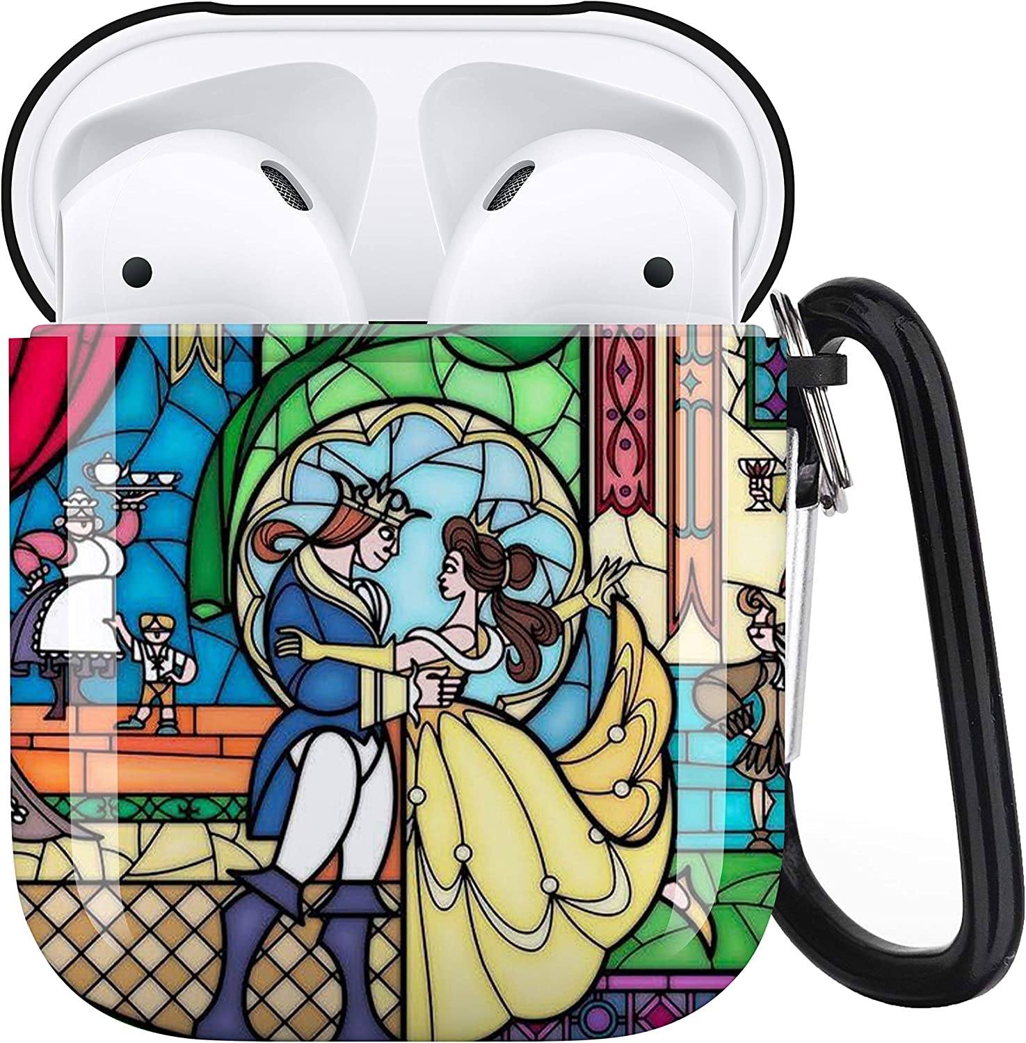 Disney Beauty and The Beast AirPods Case Personalize Custom, AirPods Case Cover Compatible with Apple AirPods 1st/2nd,Full Protective Durable Shockproof Drop Proof with Key Chain Compatible