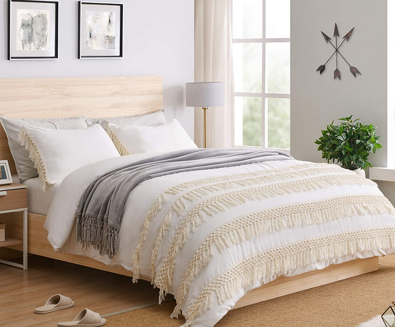 KB & Me Minimalist Boho Chic Solid Ivory Cream Macrame Fringe Knotted Tassel Cotton Duvet Comforter Cover and Sham 3 pc. Off White Full/Queen Size Bedding Set Luxury College